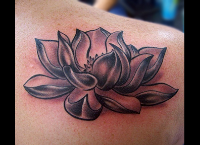 Black & Grey Tattoo Lotus Flower