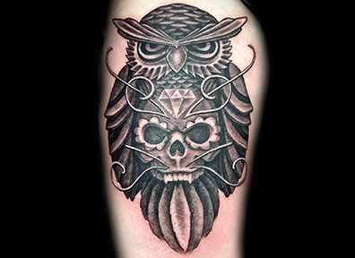 Black & Grey Tattoo Owl