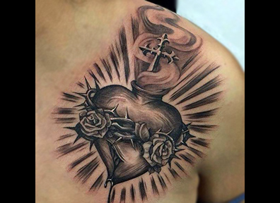 Black & Grey Tattoo Religious Heart