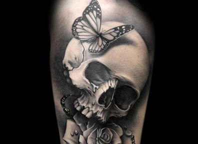 Black & Grey Tattoo Skull