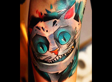 New School Tattoo Cat