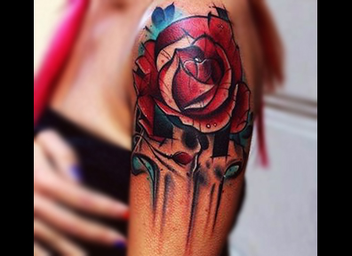 New School Tattoo Rose