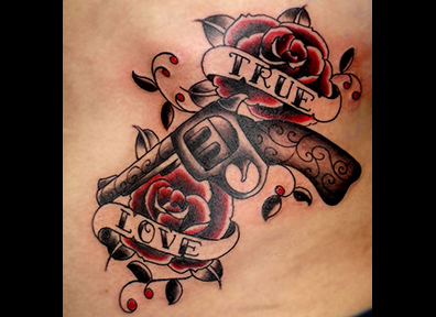 Old School Tattoo Gun & Roses