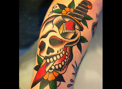 Old School Tattoo Skull & Dagger