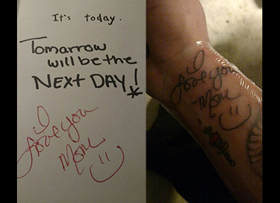 Hand Written Note Tattoo