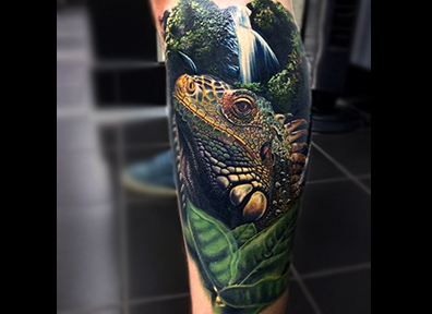 Realistic Tattoo Waterfall Iguana