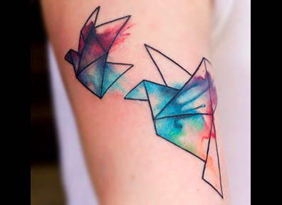 Watercolor Tattoo Abstract Bird