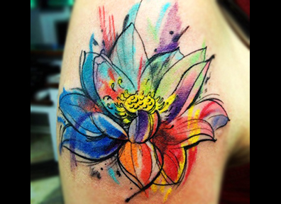 Watercolor Tattoo Lotus FLower