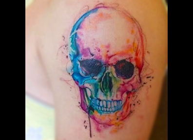 Watercolor Tattoo Skull
