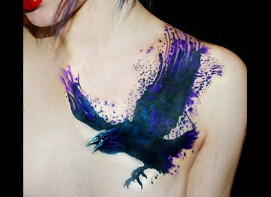 Watercolor Tattoo Crow