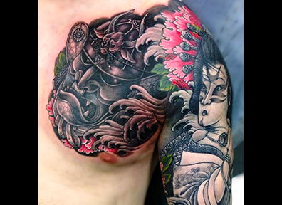 Japanese Tattoo Samurai Mask and Geisha